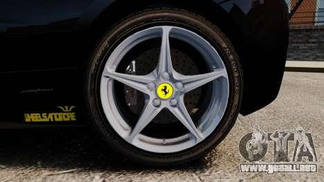 Ferrari 458 Italia 2010 Wheelsandmore 2013 para GTA 4 vista lateral