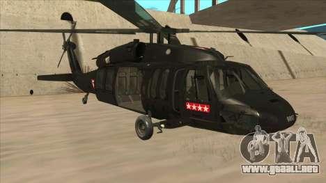 Sikorsky UH-60L Black Hawk Mexican Air Force para GTA San Andreas left