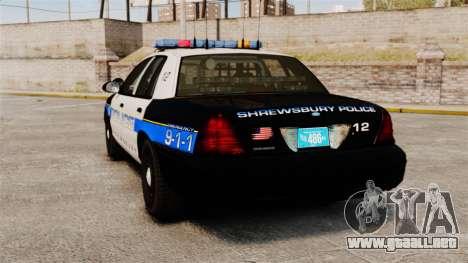 Ford Crown Victoria Police Massachusetts ELS para GTA 4 Vista posterior izquierda