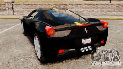 Ferrari 458 Italia 2010 Wheelsandmore 2013 para GTA 4 vista hacia atrás