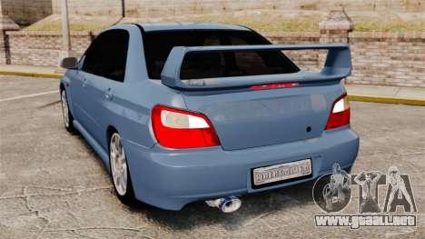 Subaru Impreza WRX 2001 para GTA 4 Vista posterior izquierda