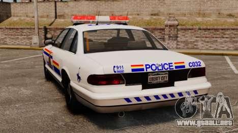 La real policía montada del Canadá para GTA 4 Vista posterior izquierda