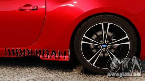 Subaru BRZ Rocket Bunny Aero Kit Hoonigan para GTA 4 vista hacia atrás