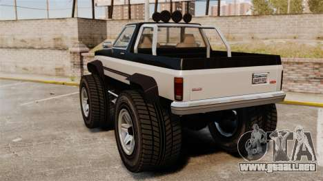 Monster Truck para GTA 4 Vista posterior izquierda