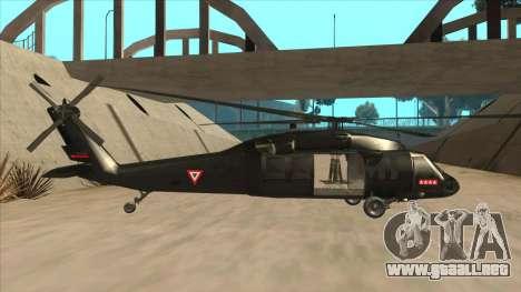 Sikorsky UH-60L Black Hawk Mexican Air Force para GTA San Andreas vista posterior izquierda