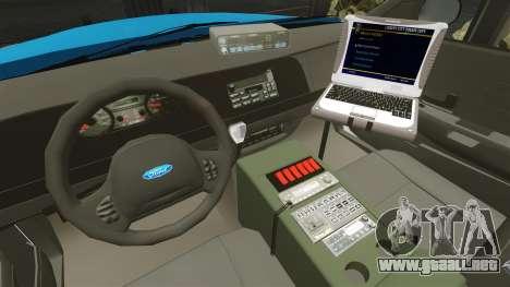 Ford Crown Victoria Police Massachusetts ELS para GTA 4 vista hacia atrás