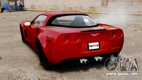 Chevrolet Corvette Z06 para GTA 4 Vista posterior izquierda