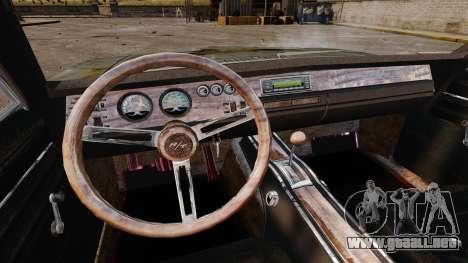 Dodge cargador RT 1969 oxidado v1.1 para GTA 4 vista superior