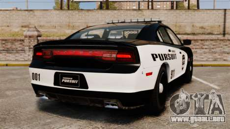 Dodge Charger Pursuit 2012 [ELS] para GTA 4 Vista posterior izquierda