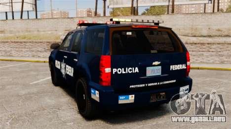 Chevrolet Tahoe 2007 De La Policia Federal [ELS] para GTA 4 Vista posterior izquierda
