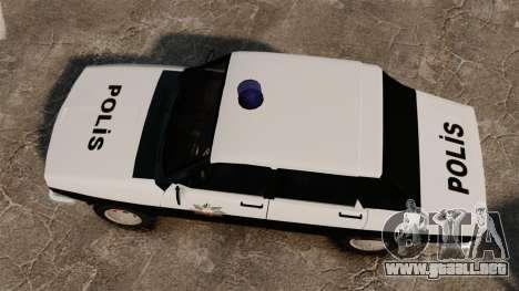 Renault 12 Classic 1980 Turkish Police para GTA 4 visión correcta