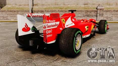 Ferrari F138 2013 v3 para GTA 4 Vista posterior izquierda
