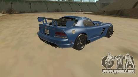 Dodge Viper SRT-10 ACR TT Black Revel para la visión correcta GTA San Andreas