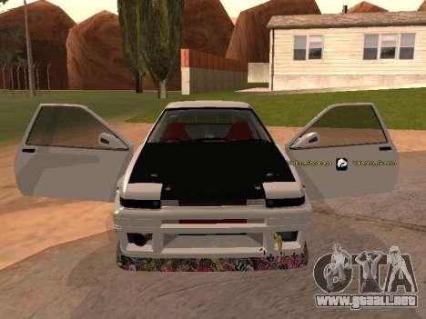 Toyota Corrola GTS JDM para la visión correcta GTA San Andreas