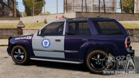 Chevrolet Trailblazer 2002 Massachusetts Police para GTA 4 left