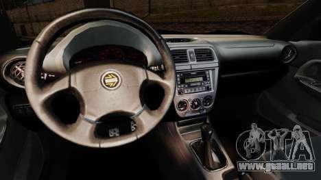 Subaru Impreza WRX 2001 para GTA 4 vista interior