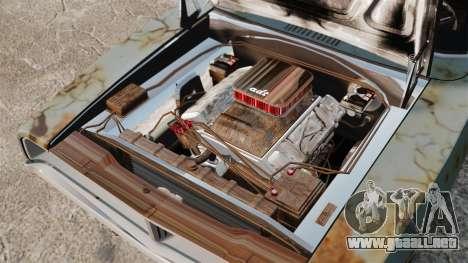 Dodge cargador RT 1969 oxidado v1.1 para GTA 4 vista interior
