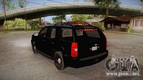 Chevrolet Tahoe LTZ 2013 Unmarked Police para GTA San Andreas vista posterior izquierda