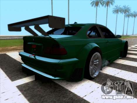 BMW M3 E46 GTR para GTA San Andreas vista posterior izquierda