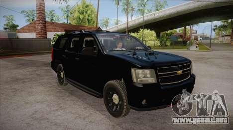 Chevrolet Tahoe LTZ 2013 Unmarked Police para GTA San Andreas vista hacia atrás