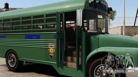 El autobús de la prisión, ciudad de Nueva York para GTA 4 vista hacia atrás