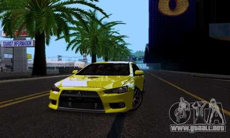 Mitsubishi Lancer Evo Drift Edition para visión interna GTA San Andreas