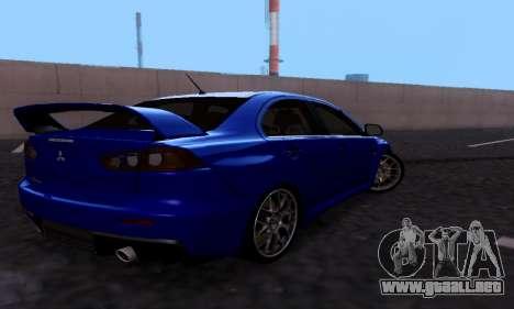 Mitsubishi Lancer Evo Drift Edition para la visión correcta GTA San Andreas