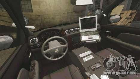 Chevrolet Tahoe 2010 PPV SFPD v1.4 [ELS] para GTA 4 vista hacia atrás