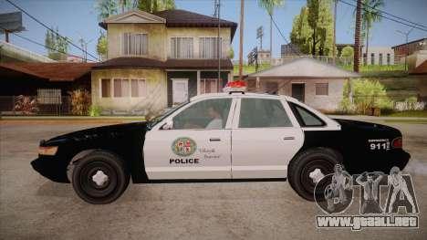 Vapid GTA V Police Car para GTA San Andreas left