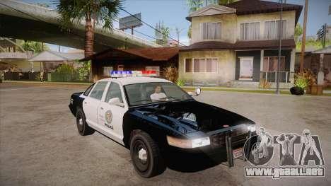 Vapid GTA V Police Car para GTA San Andreas vista hacia atrás