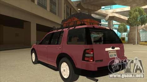 Ford Explorer 2011 para GTA San Andreas vista hacia atrás