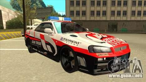 Nissan Skyline BNR34 GT4 Pace Car para GTA San Andreas left
