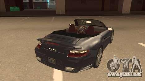 Porsche 911 Turbo Cabriolet 2008 para la visión correcta GTA San Andreas