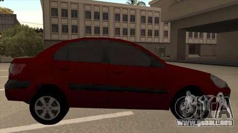 KIA RIO II para GTA San Andreas vista posterior izquierda