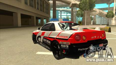 Nissan Skyline BNR34 GT4 Pace Car para GTA San Andreas vista hacia atrás