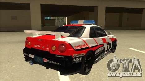 Nissan Skyline BNR34 GT4 Pace Car para la visión correcta GTA San Andreas