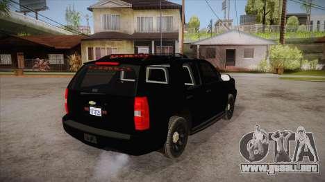 Chevrolet Tahoe LTZ 2013 Unmarked Police para la visión correcta GTA San Andreas