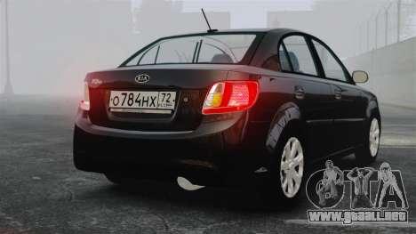 Kia Rio 2009 para GTA 4 Vista posterior izquierda