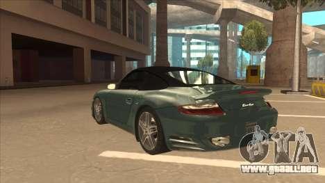 Porsche 911 Turbo Cabriolet 2008 para vista lateral GTA San Andreas
