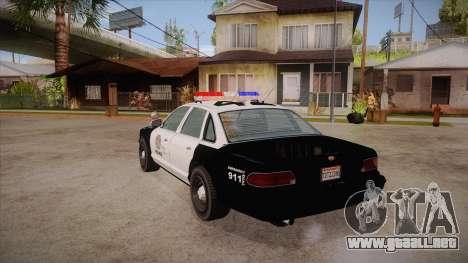 Vapid GTA V Police Car para GTA San Andreas vista posterior izquierda