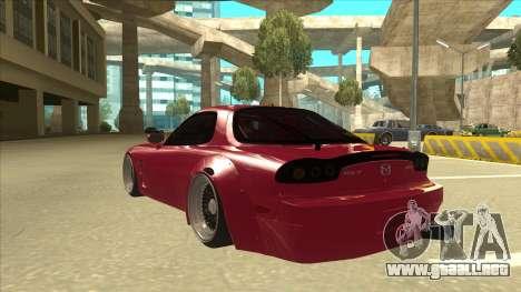 Mazda RX7 FD3S Rocket Bunny para GTA San Andreas vista hacia atrás