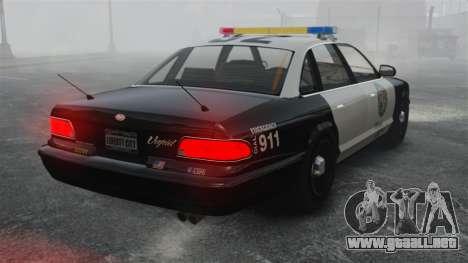 Una patrulla de la policía GTA V para GTA 4 Vista posterior izquierda