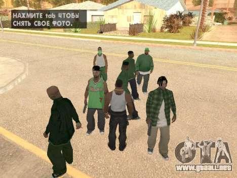 Tres hombres en una banda de Groove street para GTA San Andreas segunda pantalla