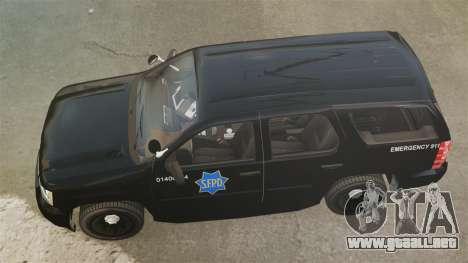 Chevrolet Tahoe 2010 PPV SFPD v1.4 [ELS] para GTA 4 visión correcta