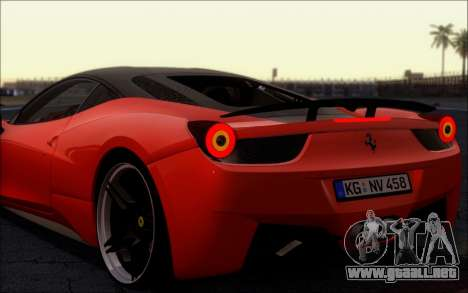 Ferrari 458 Italia Novitec Ross para la visión correcta GTA San Andreas