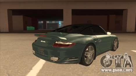 Porsche 911 Turbo Cabriolet 2008 para la vista superior GTA San Andreas