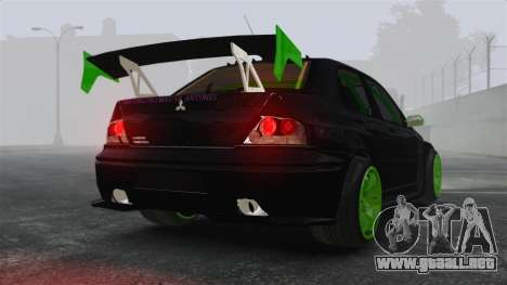 Mitsubishi Lancer Evolution VII Freestyle para GTA 4 Vista posterior izquierda