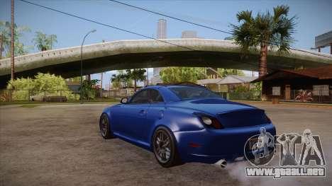 Lexus SC430 2JZ-GTE Black Revel para GTA San Andreas vista posterior izquierda