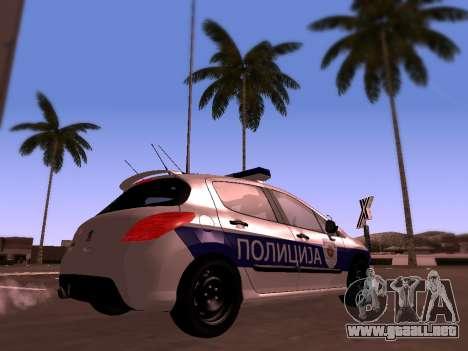 Peugeot 308 SERBIAN PATROL para GTA San Andreas vista posterior izquierda