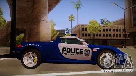 Porsche Carrera GT 2004 Police Blue para GTA San Andreas vista posterior izquierda